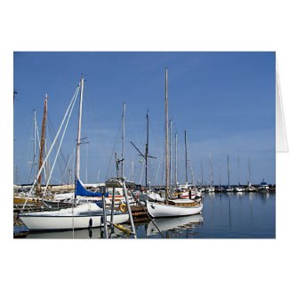 Sailing boats in the harbour card