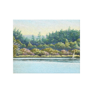 Sailing Boats on Frensham Ponds, Surrey in Pastel Canvas Print