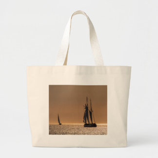 Sailing boats on shore of the Baltic Sea Large Tote Bag