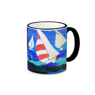 'Sailing Boats' Ringer Mug