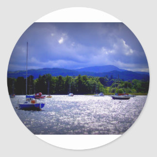 Sailing Boats under a stormy Sky Classic Round Sticker