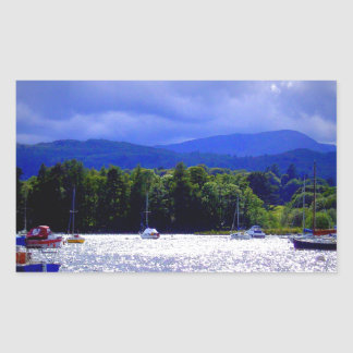 Sailing Boats under a stormy Sky Rectangular Sticker