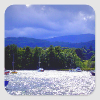 Sailing Boats under a stormy Sky Square Sticker