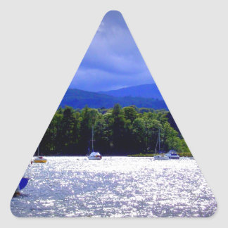 Sailing Boats under a stormy Sky Triangle Sticker