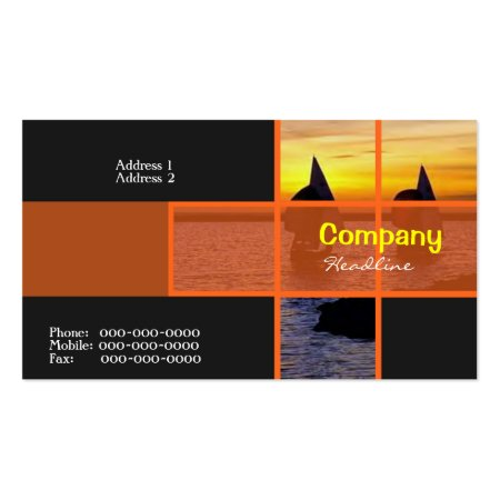 Stylish Black Silhouette Against the Sunset Sailing Boat Business Cards