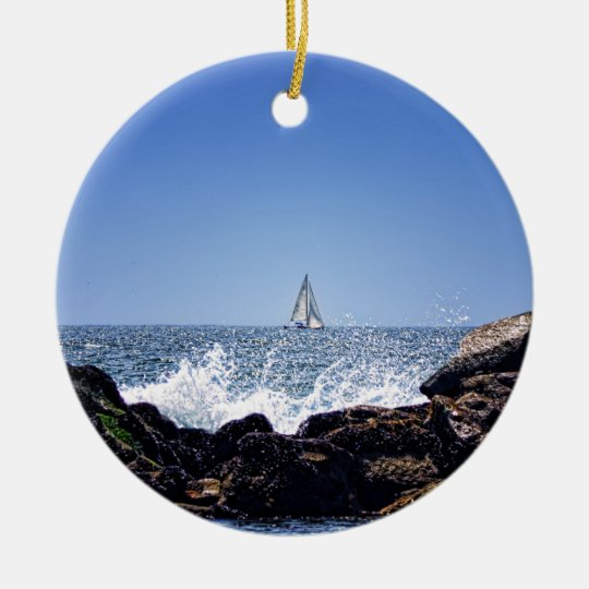 Sailing By Ceramic Ornament