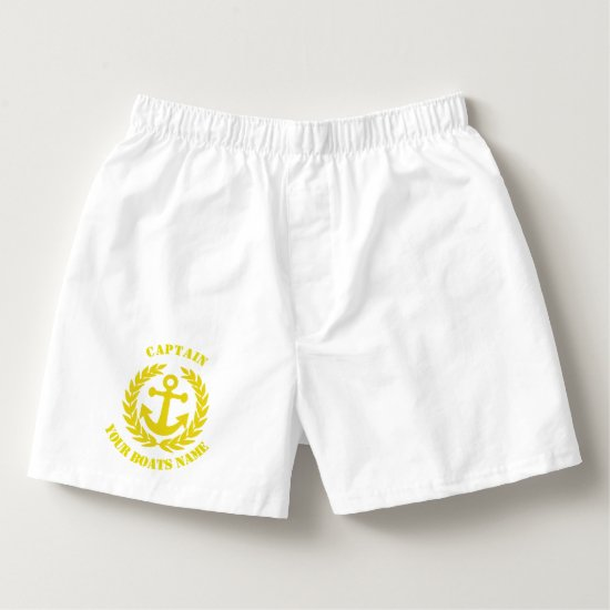 Sailing captain and yellow anchor motif custom boxers