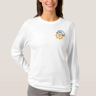 Sailing Captain's Wheel Embroidered Long Sleeve T-Shirt