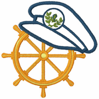 Sailing Captain's Wheel Embroidered Hooded Sweatshirt
