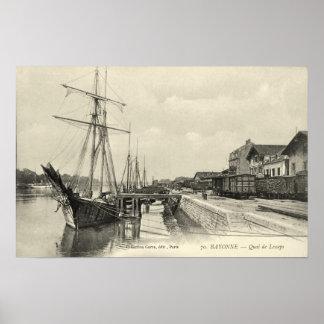 Sailing cargo ships, Bayonne, France Poster