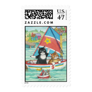 Sailing Cats Bud & Tony Stamp