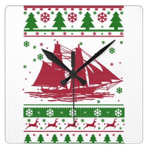 Sailing Christmas Square Wall Clock