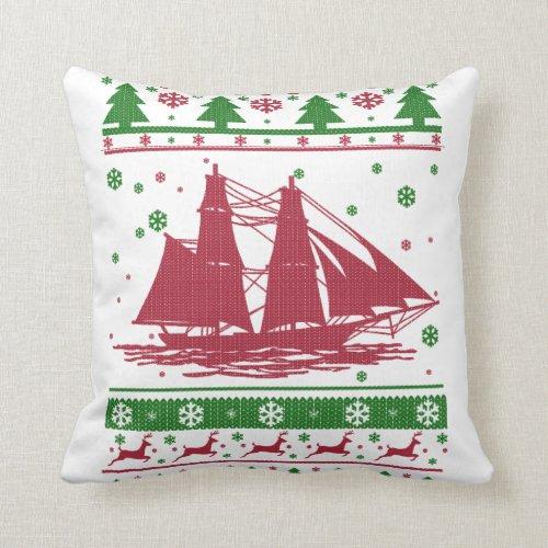 Sailing Christmas Throw Pillow