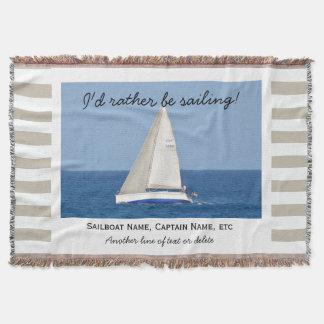 Sailing Custom Sailboat Photo Nautical Tan Striped Throw Blanket