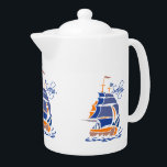 """Sailing custom teapot<br><div class=""""desc"""">Using the &quot;Customize it&quot; function,  you can change (edit) the background color of this item,  as well as add your own text if you wish. See my store for more items with this design.</div>"""