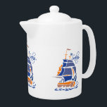 "Sailing custom teapot<br><div class=""desc"">Using the &quot;Customize it&quot; function,  you can change (edit) the background color of this item,  as well as add your own text if you wish. See my store for more items with this design.</div>"