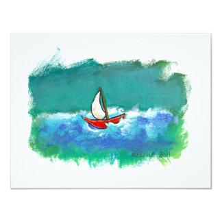 Sailing fun original boat painting colorful art card
