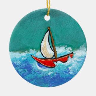 Sailing fun original boat painting colorful art christmas tree ornament