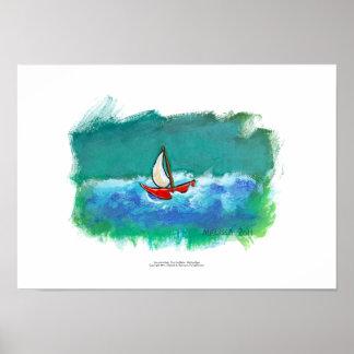 Sailing fun original boat painting colorful art poster