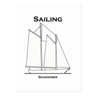Sailing Gaff-Rigged Schooner Sailboat (sail plan) Postcard