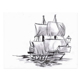 Sailing Galleon Old Ship Art Postcard