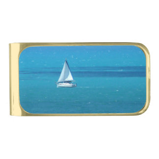 Sailing Gold Finish Money Clip