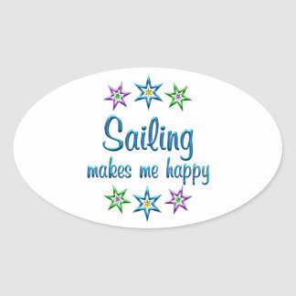 Sailing Happy Oval Sticker