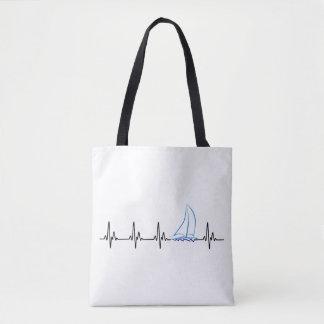 Sailing Heartbeat Funny Sailboat Tote Bag