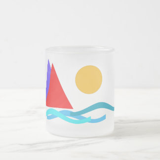 Sailing - I love summer Frosted Glass Coffee Mug