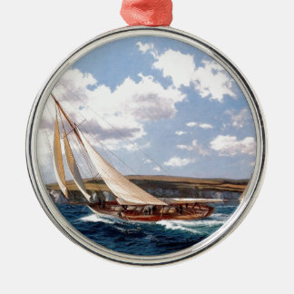 Sailing in a rough sea metal ornament