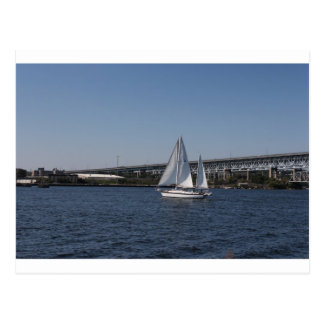 Sailing in beautiful Groton CT Postcard