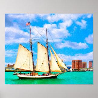 Sailing In Boston Harbor - 14x11 Archival Poster