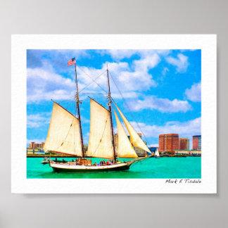 Sailing In Boston Harbor - Mini Poster