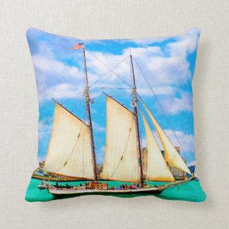 Sailing In Boston Harbor Pillow