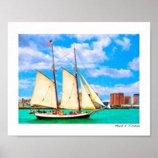 Sailing In Boston Harbor - Small Poster