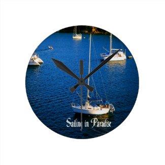 Sailing in Paradise Wallclocks