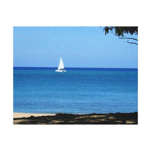Sailing in Rincon, Pueto Rico Stretched Canvas Print