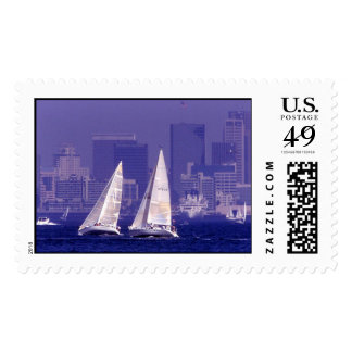Sailing in San Diego, CA Postage Stamp