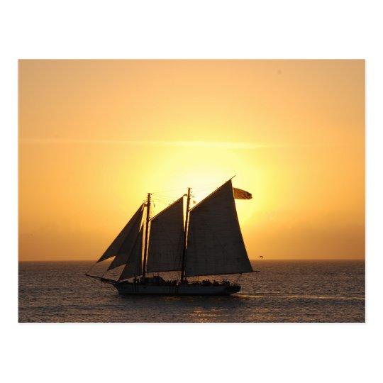 Sailing in sunset postcard