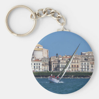 Sailing in the bay at Siracusa. Keychain