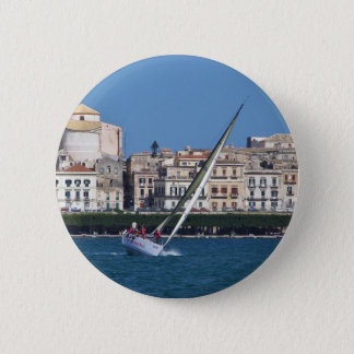 Sailing in the bay at Siracusa. Pinback Button