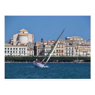 Sailing in the bay at Siracusa. Postcard