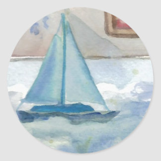Sailing in the Big, Big Sea CricketDiane Ocean Art Classic Round Sticker
