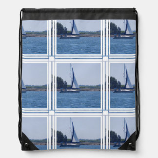 Sailing in the Blue Drawstring Bag