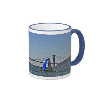 Sailing in the San Francisco Bay Ringer Coffee Mug