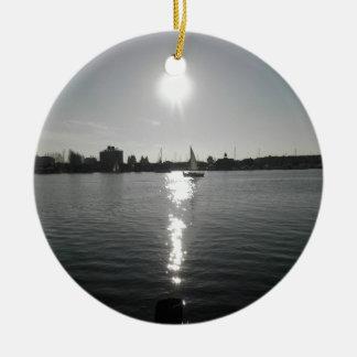 Sailing into the Sunset Ceramic Ornament