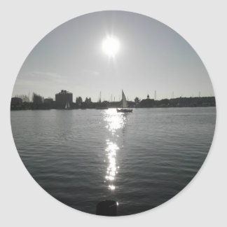 Sailing into the Sunset Classic Round Sticker