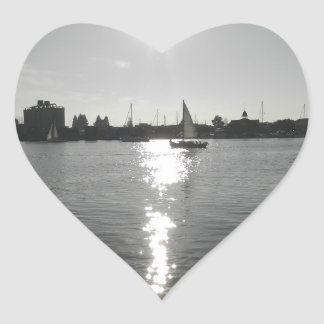 Sailing into the Sunset Heart Sticker