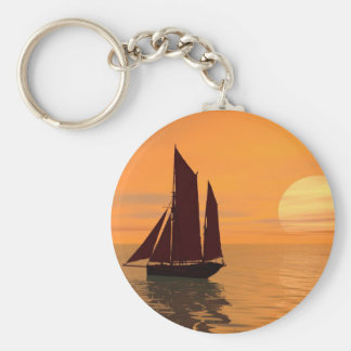 Sailing into the sunset keychain