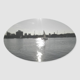 Sailing into the Sunset Oval Sticker